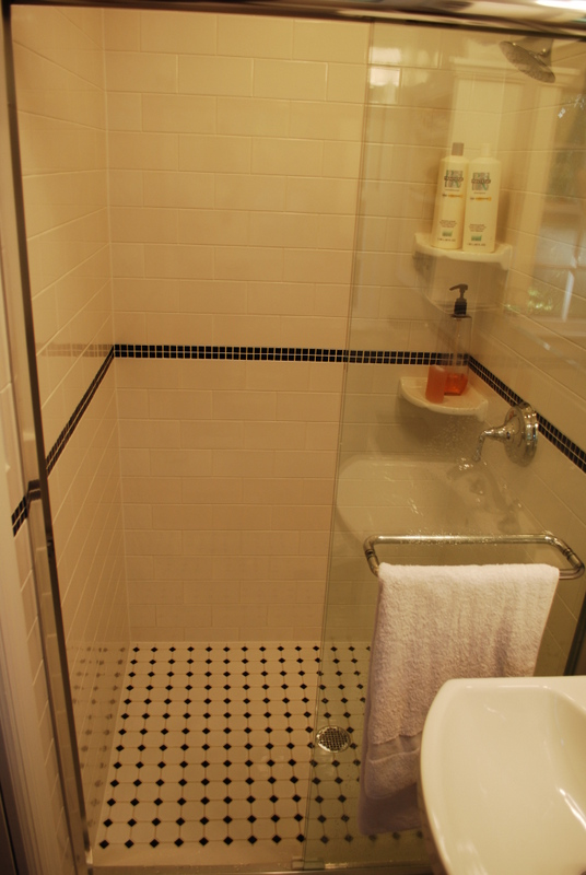 A well thought out stall shower creates a roomy feeling.