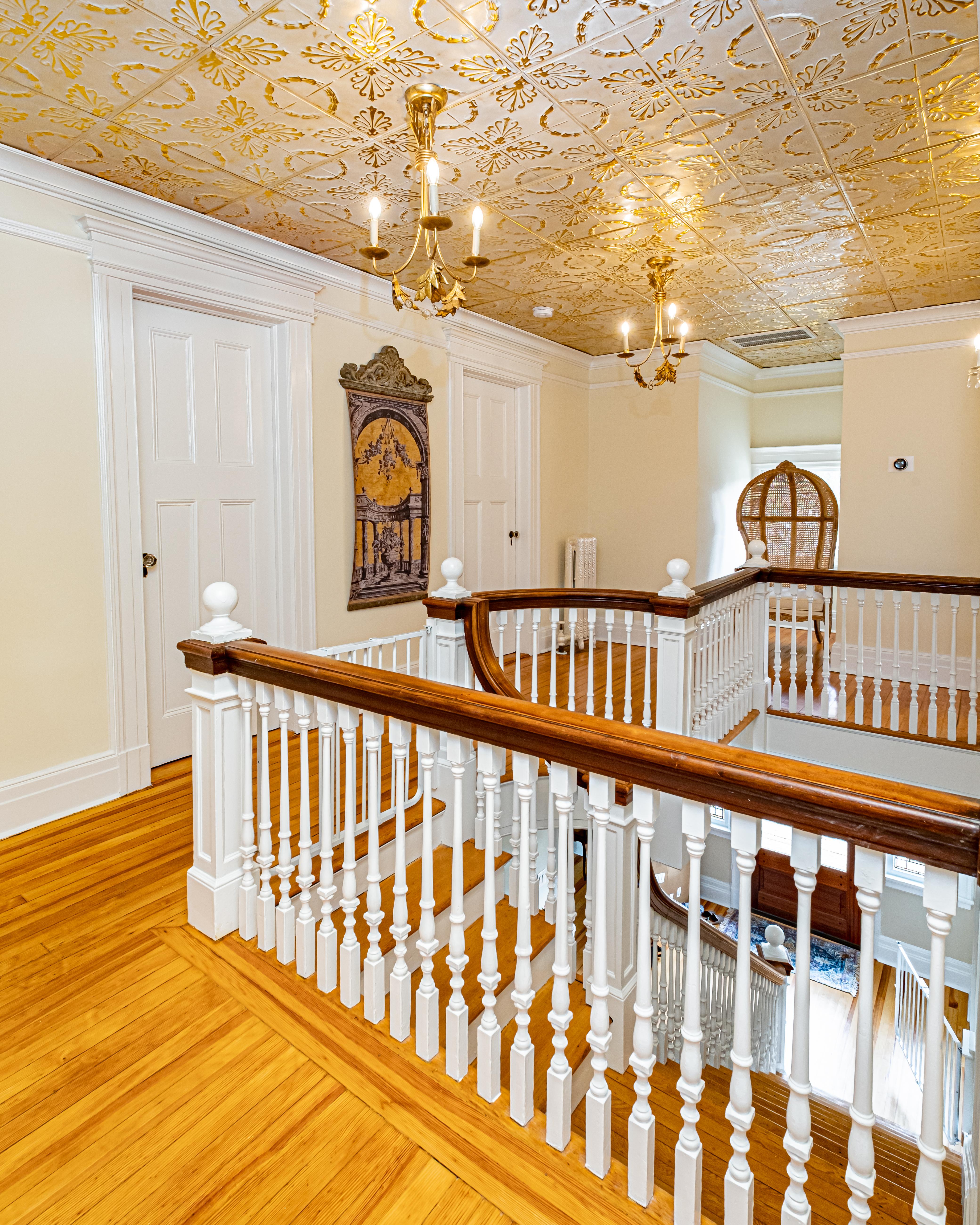 stair-hallway-custom- ceiling-tiles-1